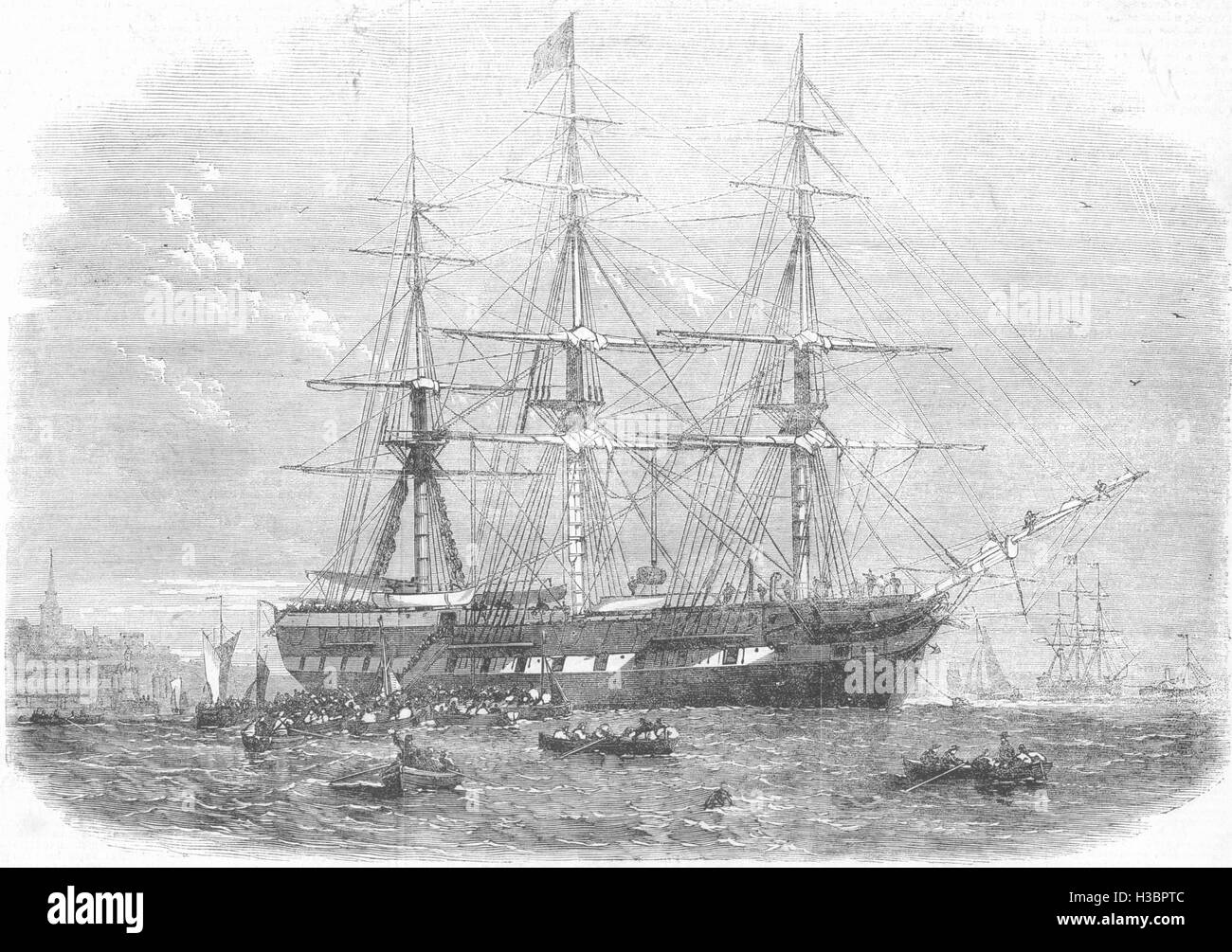 SOCIETY The Gertrude Emigrant-ship 1862. The Illustrated London News - Stock Image