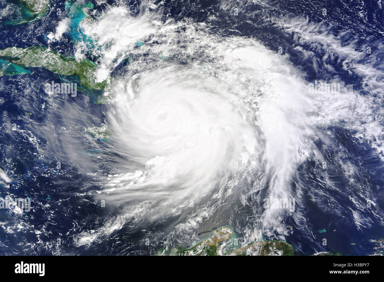 Hurricane Matthew passes over southwestern Haiti in the Caribbean as a category 4 storm on October 4th 2016 - image Stock Photo