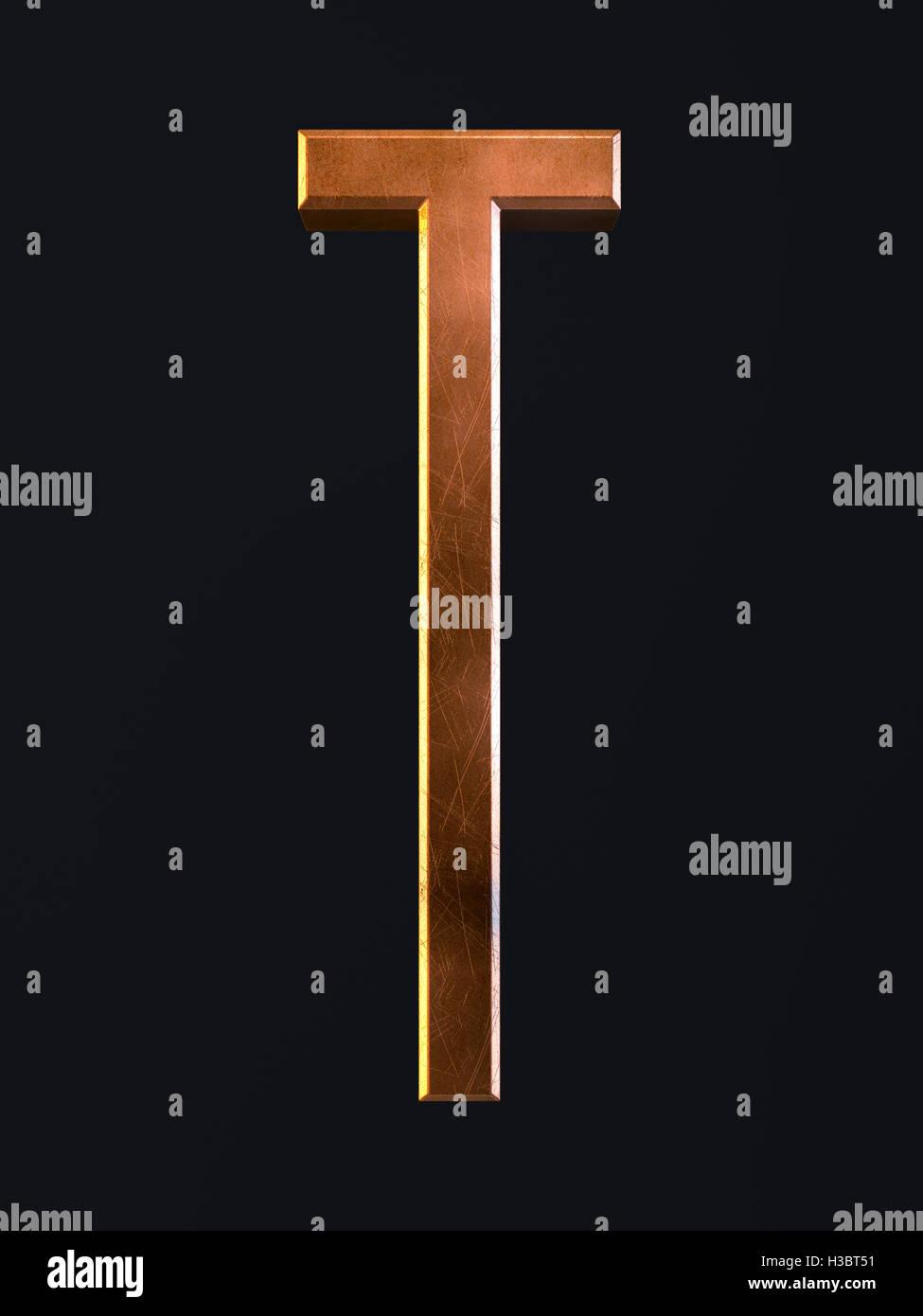 3d Render Of Golden Metal Dirty Rust Scratch Alphabet Letter Symbol