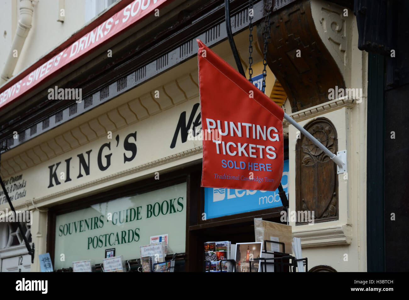Sign for Punting tickets, on Kings Parade, Cambridge. England. - Stock Image