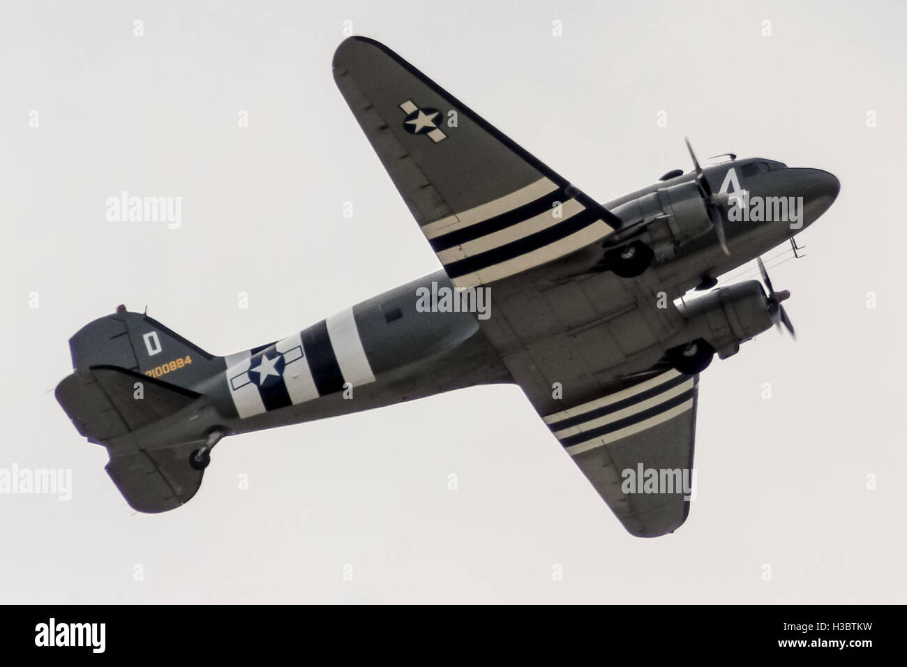 Douglas C-47 Skytrain or Dakota is a military transport aircraft developed from the civilian Douglas DC-3 airliner - Stock Image