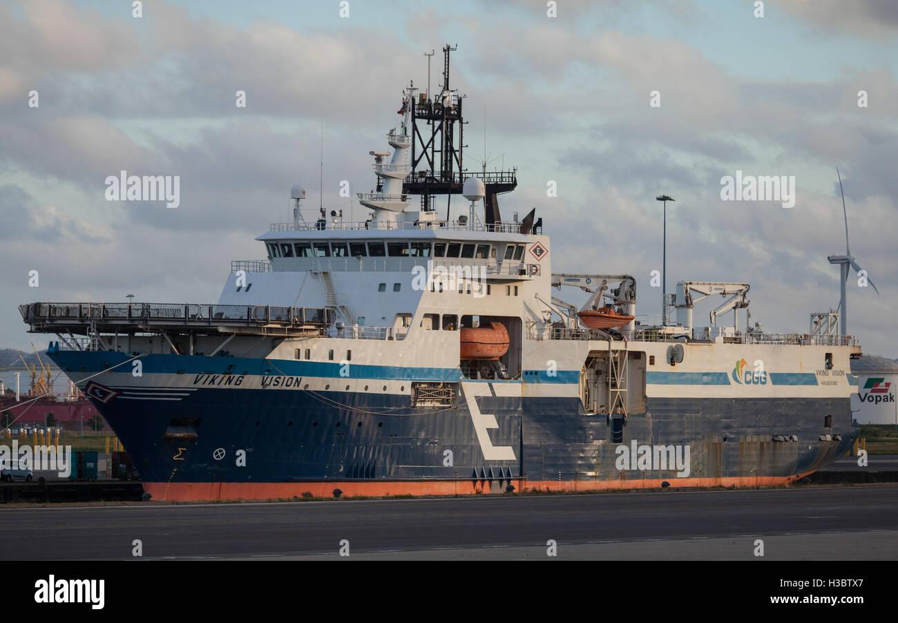 MV Viking Vision alongside in Ijmuiden in The Netherlands - Stock Image