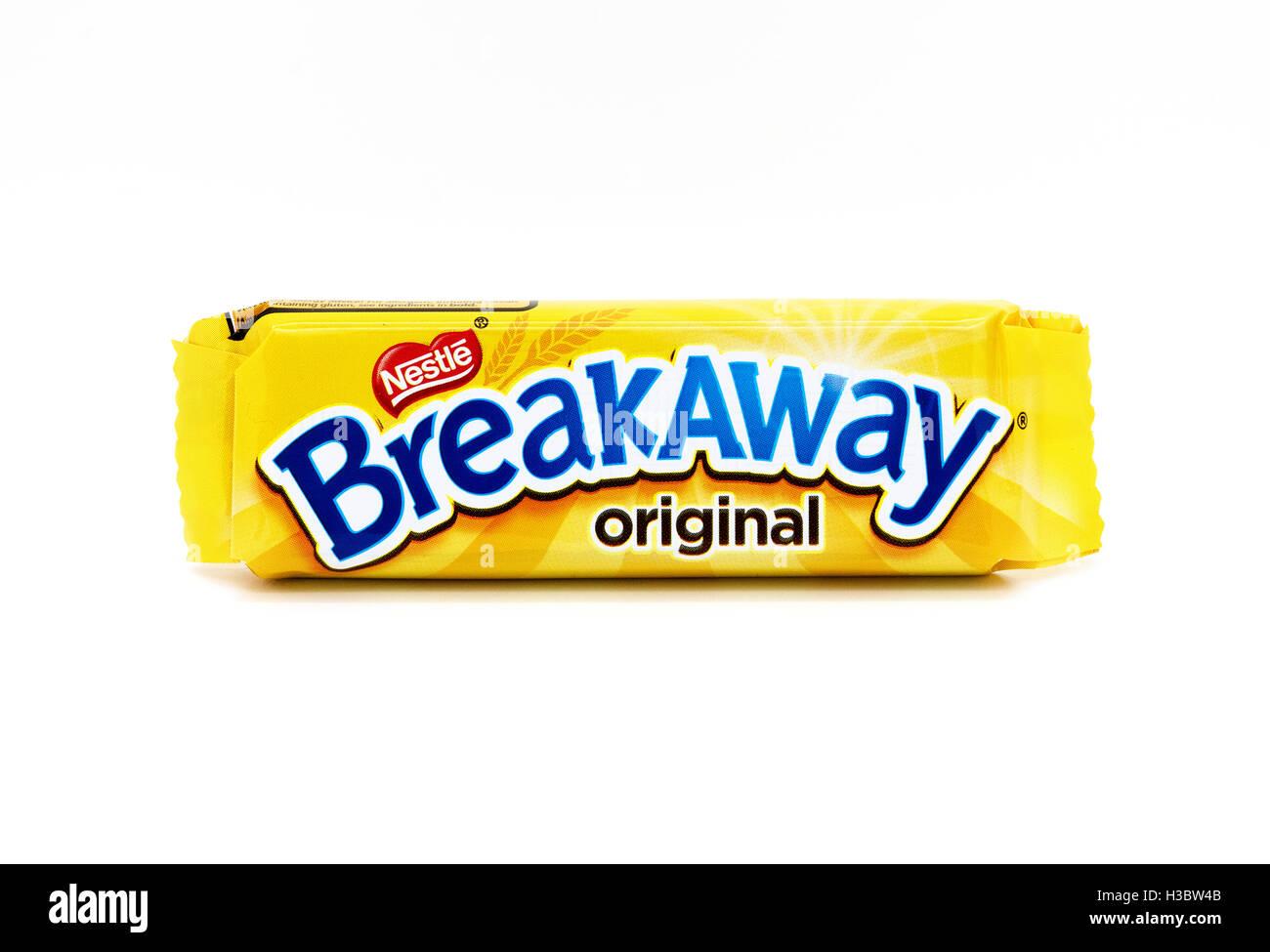 A Nestle Breakaway chocolate biscuit bar - Stock Image