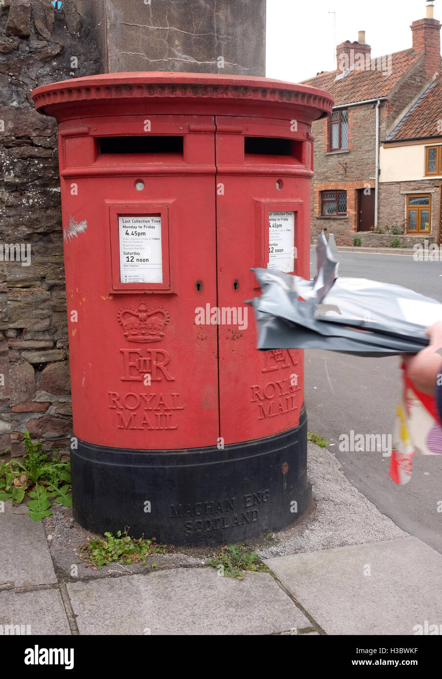 4th October 2016, Large red letter box with two opening in Winterbourne, South Gloucestershire. - Stock Image