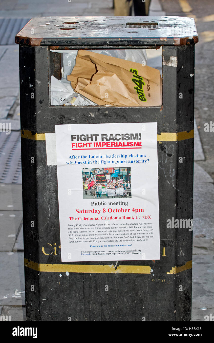 Labour Party 'Fight Racism, Fight Imperialism' sticked sited on waste bin - Stock Image