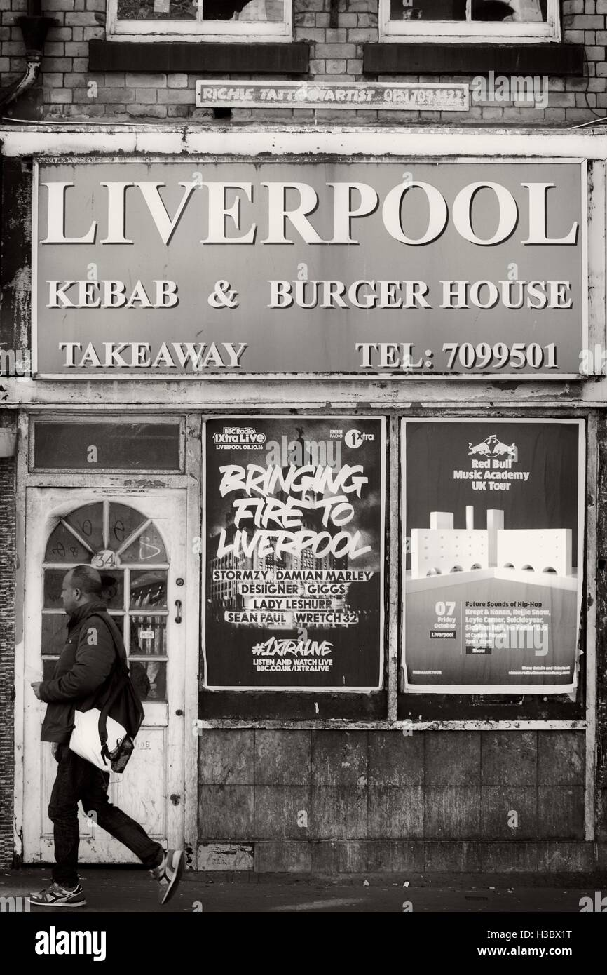 Kebab & Burger House Takeaway. Old vintage style images of urban decay in Liverpool city centre, Merseyside, - Stock Image