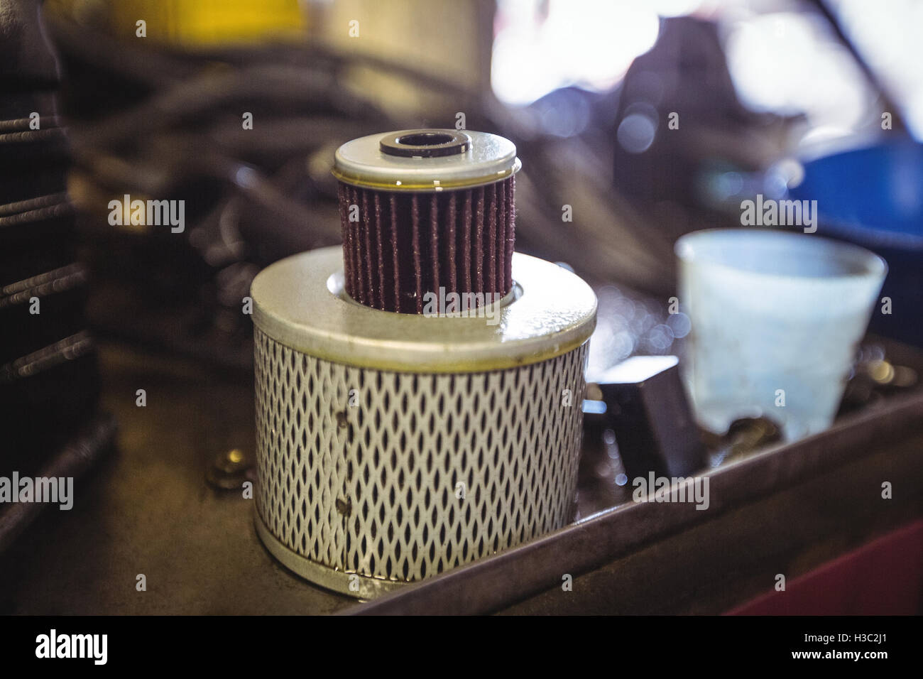 Close-up of oil filters - Stock Image