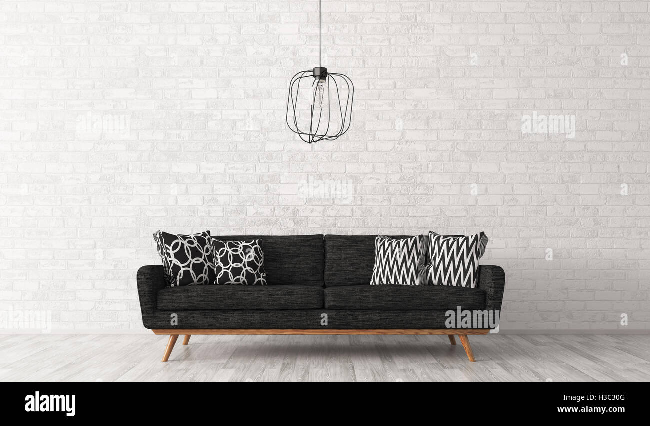 Modern interior of living room with black sofa and lamp against of ...