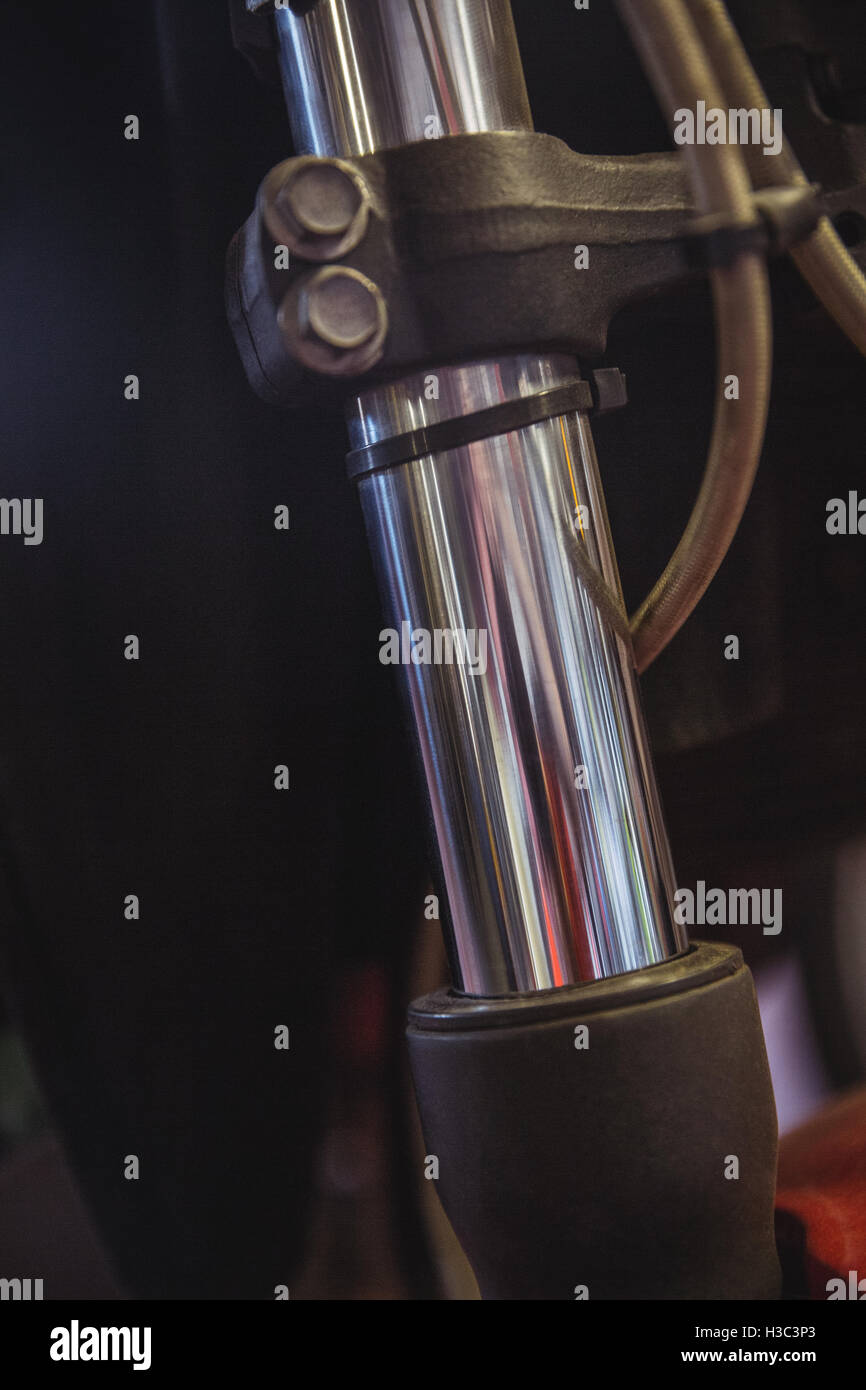 Telescopic fork of motorbike Stock Photo