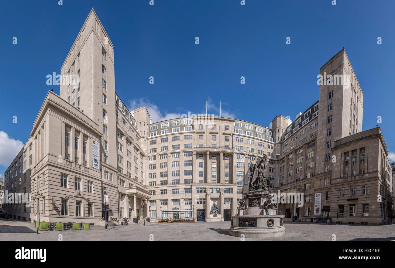Set of offices in central Liverpool known as Exchange Buildings. Locally as Exchange Flags. - Stock Image