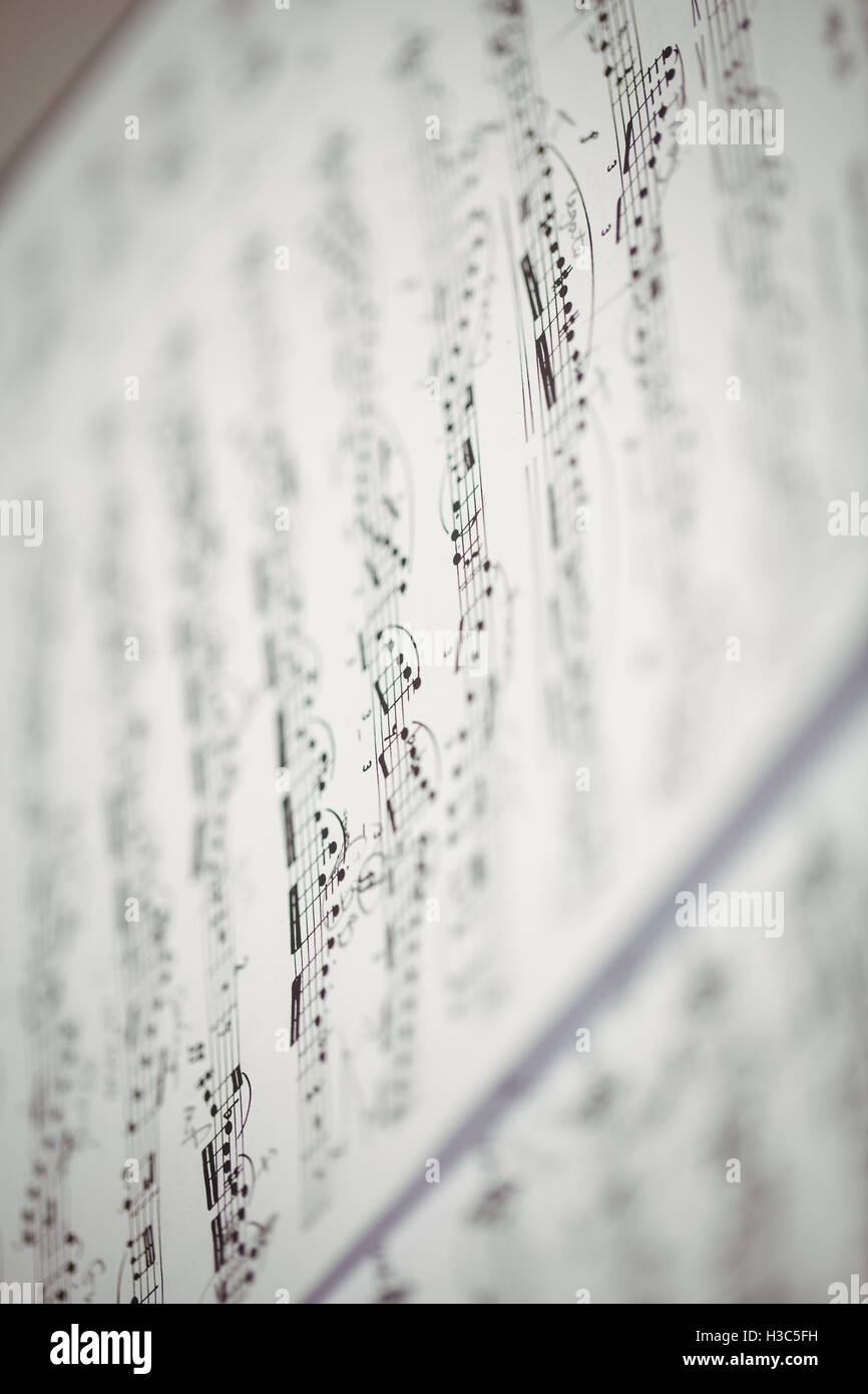 Close-up of music sheet - Stock Image
