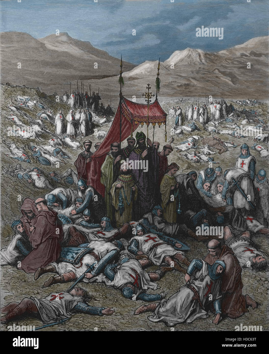 First Crusade. Burying the Dead After the Battle of Dorylaeum, Anatolia. Engraving by Dore, 19th century. - Stock Image