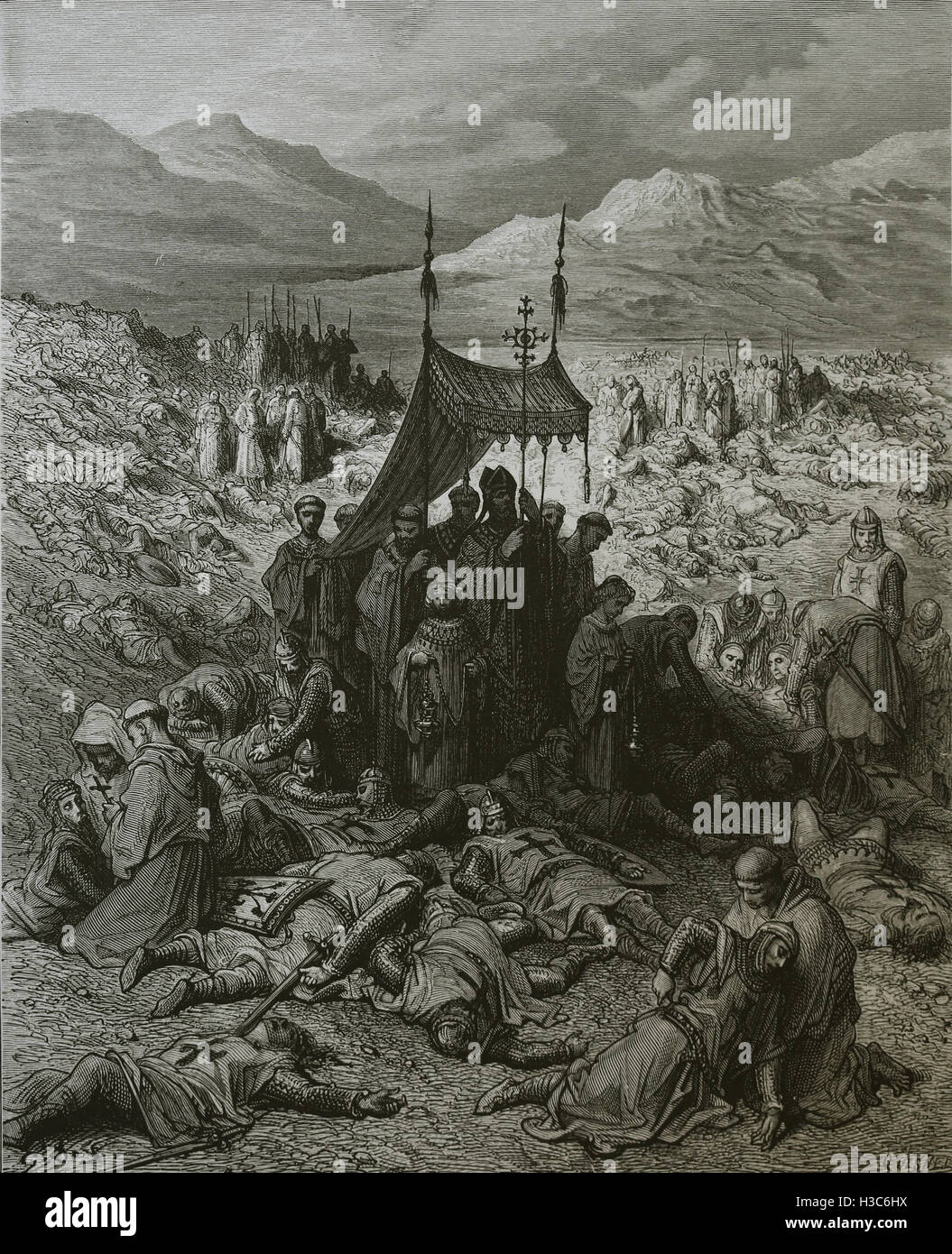First Crusade. Burying the Dead After the Battle of Dorylaeum, Anatolia. Engraving by Gustave Dore,19th century. - Stock Image