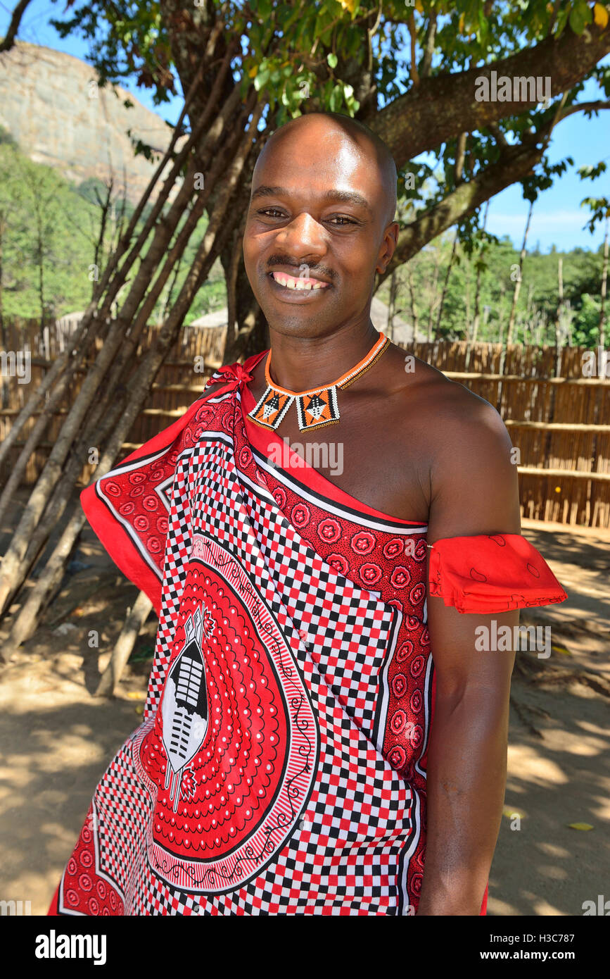 Swazi man guide in traditional dress in the  Mantenga Cultural Village,  Ezulwini Valley , Swaziland - Stock Image