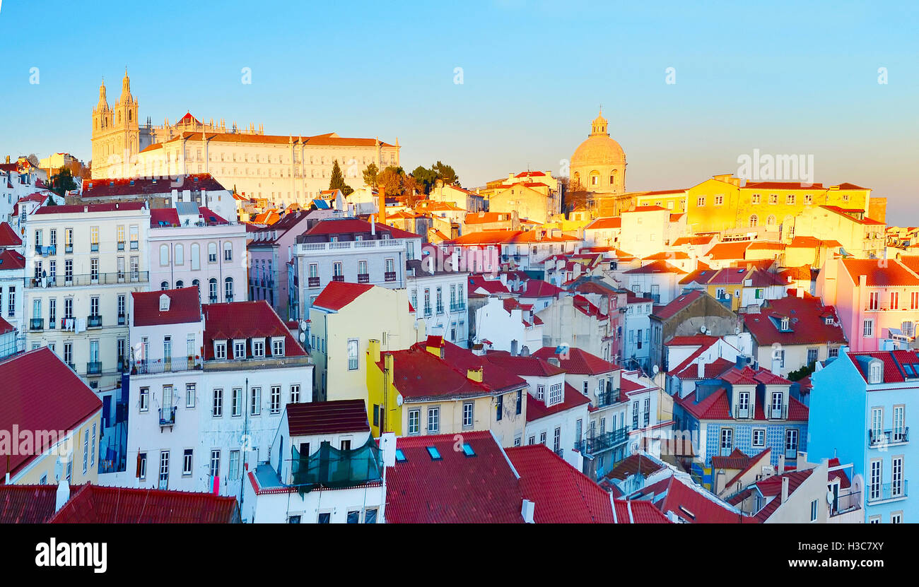 Colorful Alfama district - Old Town of Lisbon. Portugal - Stock Image