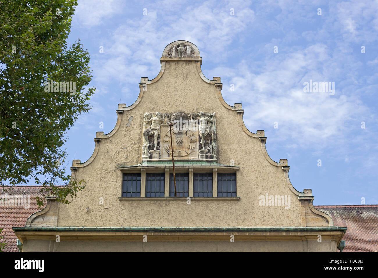 gable, train station, Lindau, Lake Constance, Bavaria, Germany - Stock Image