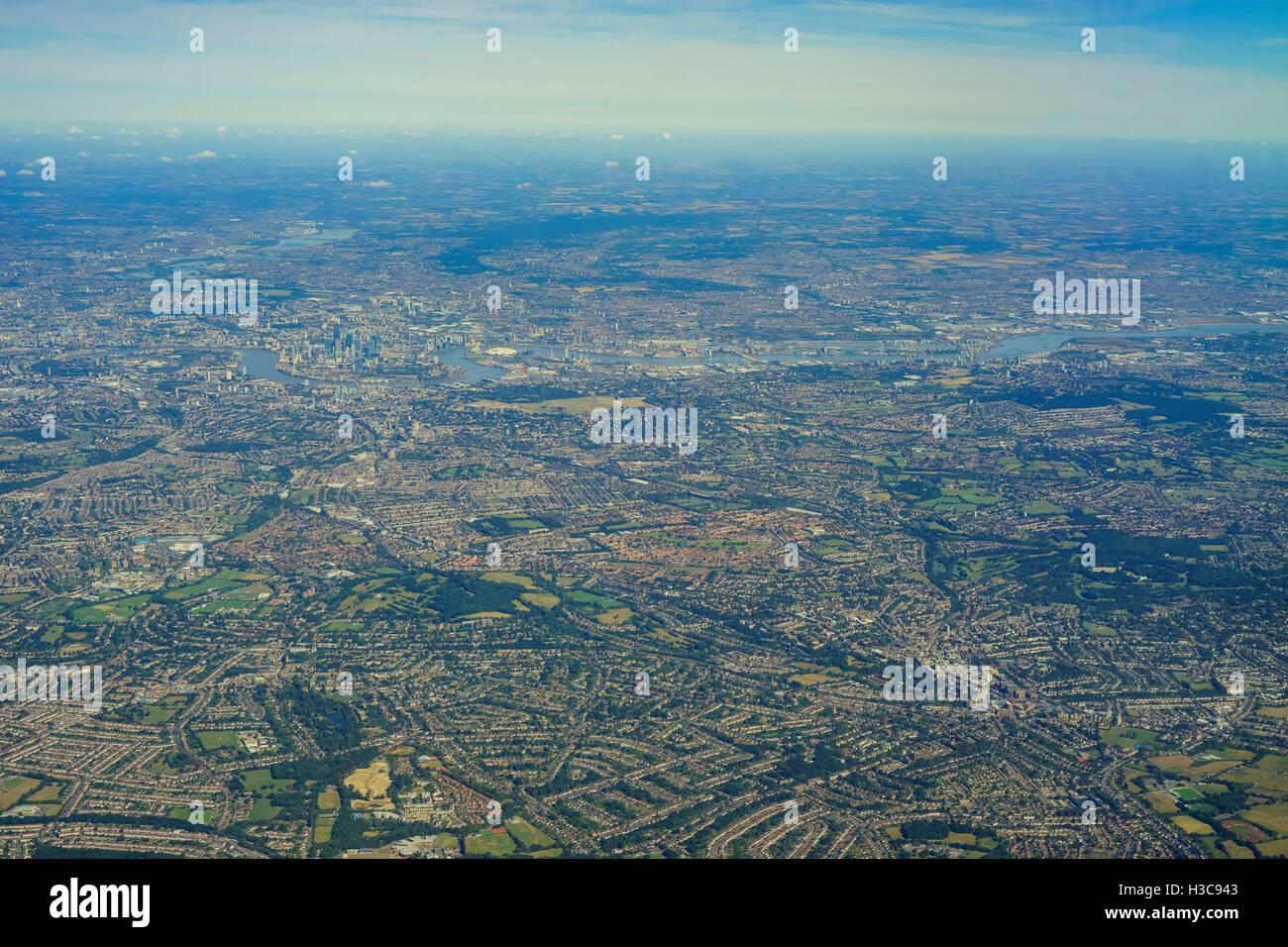 Aerial View of Downham, Bromley, Shortlands, Eden Park, Park Langley in morning, United Kingdom - Stock Image