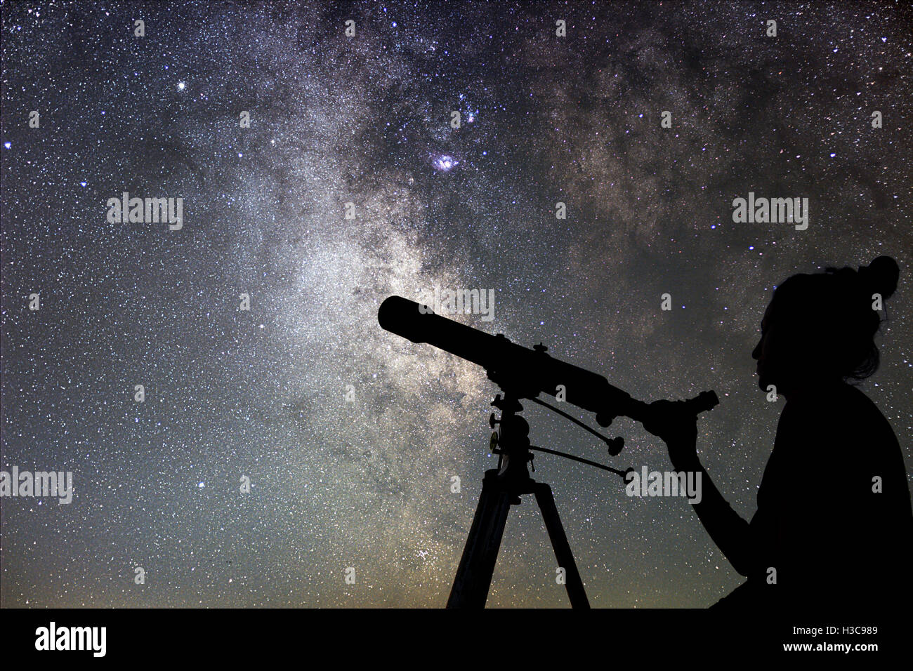 Woman and night sky. Watching the stars Woman with telescope. - Stock Image
