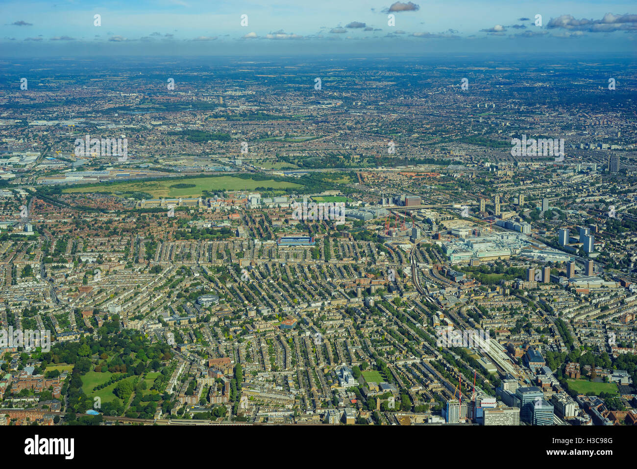 Aerial view of West Acton, East Acton, Emlyn Gardens, Bedford Park, White City, Shepherd's Bush of London, United - Stock Image