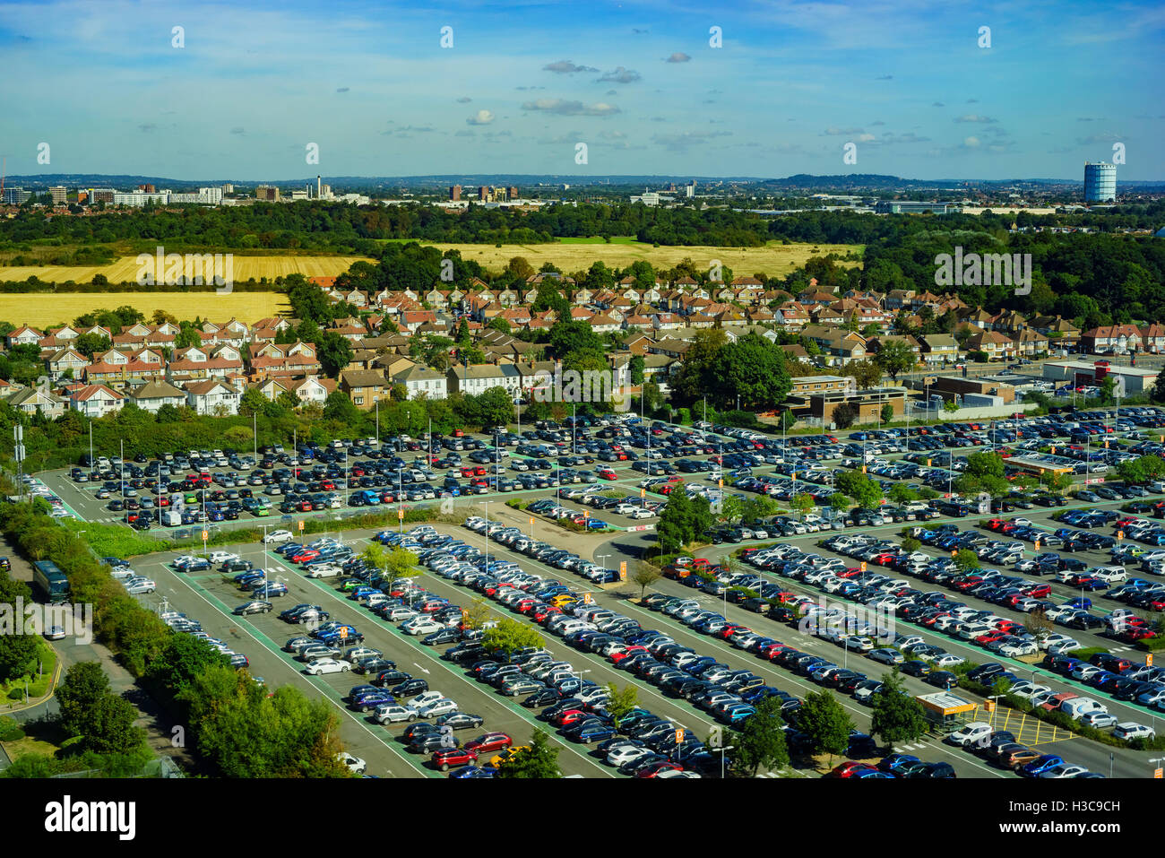 Aerial view of a parking place near Heathrow of London, United Kingdom - Stock Image