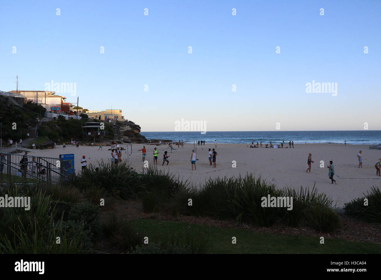 Tamarama Beach on the Bondi to Coogee coastal walk at dusk. Stock Photo