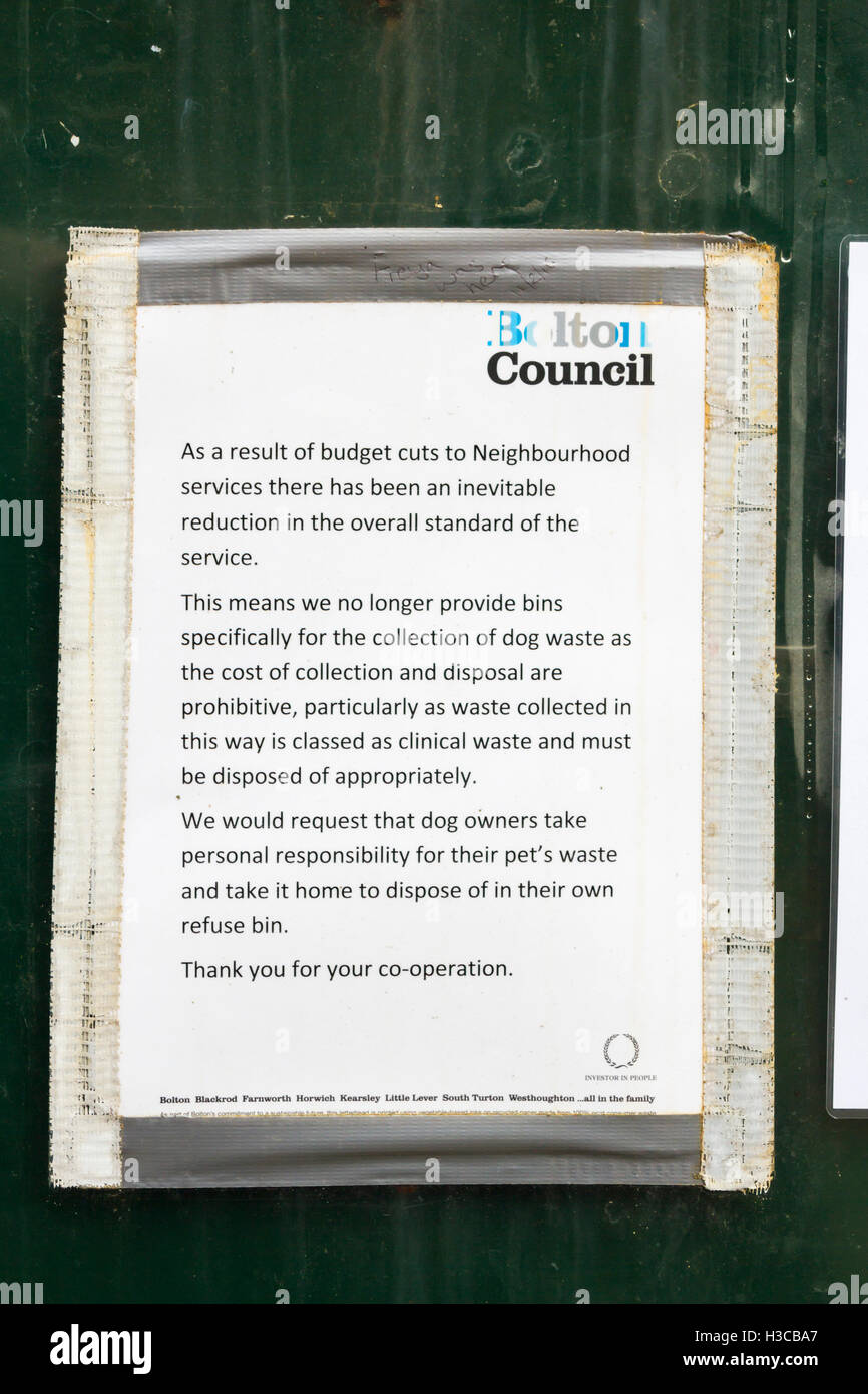 Publically posed notice near Smithills Hall, Bolton, regarding the ending of dog waste collection due to austerity - Stock Image