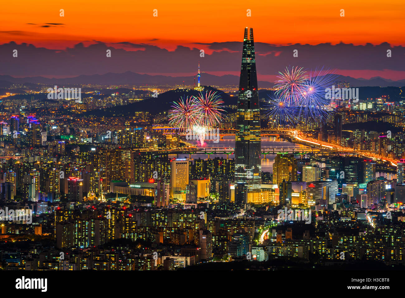 Seoul Fireworks In Seoul City Skyline,South Korea. - Stock Image