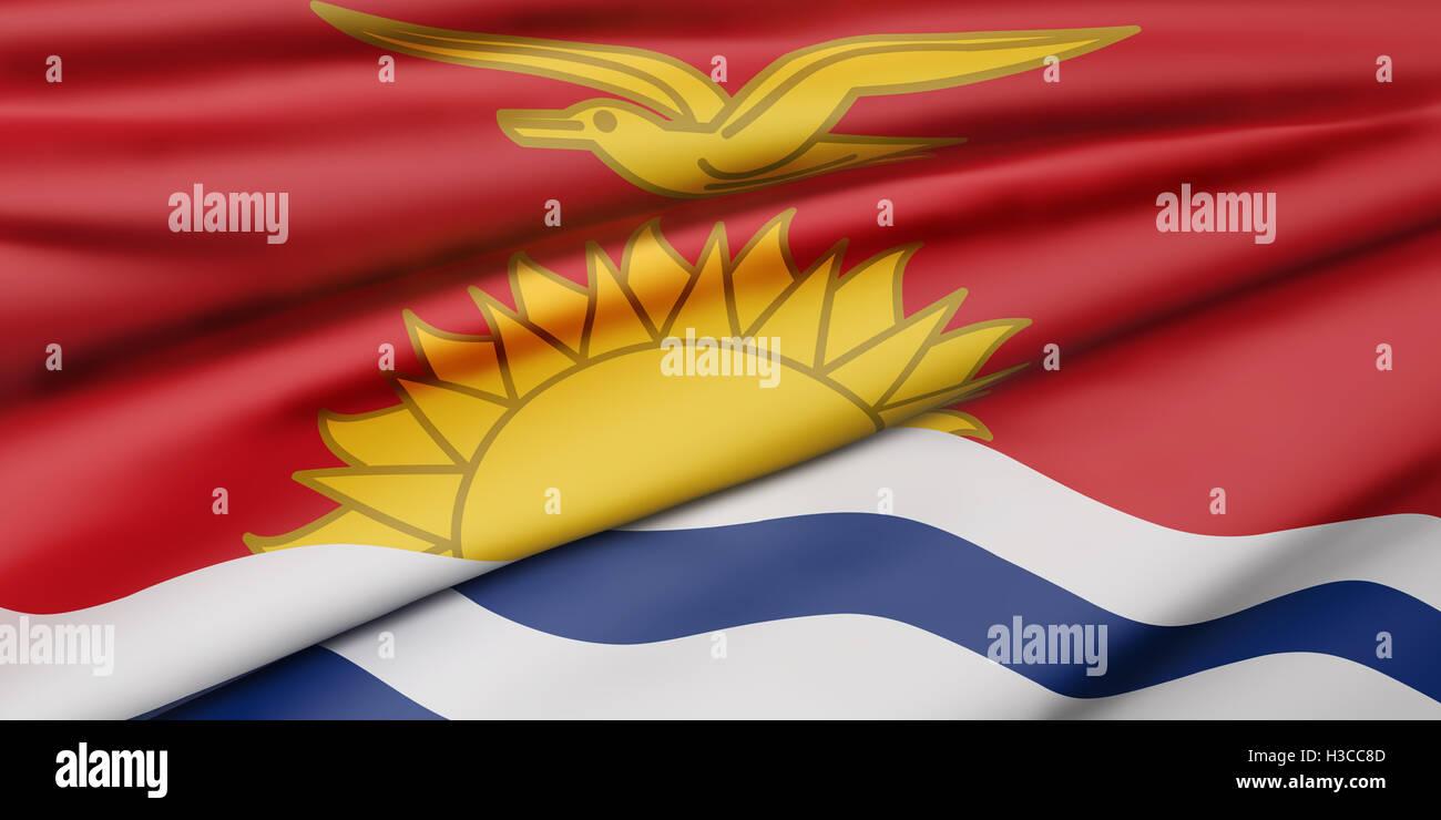 3d rendering of  Republic of Kiribati flag waving - Stock Image
