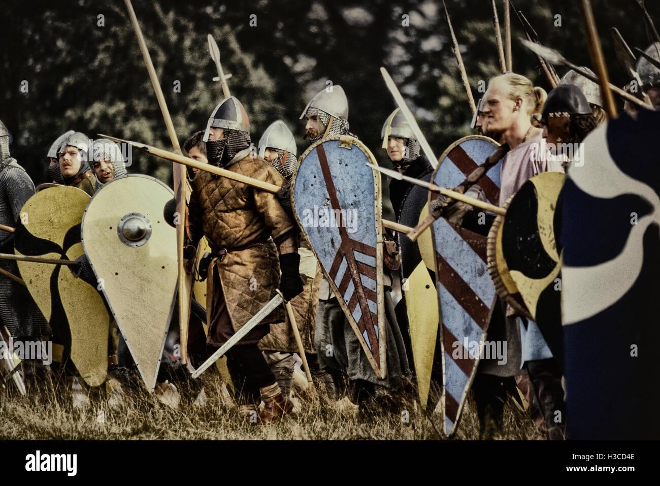 1066 battle of Hastings re-enactment. Battle. East Sussex. England. UK - Stock Image