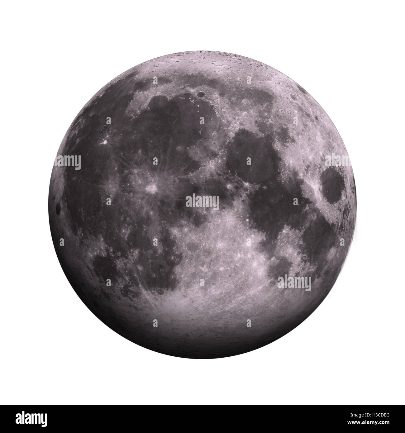 Solar System - Moon. Isolated planet on white background. Elements of this image furnished by NASA - Stock Image