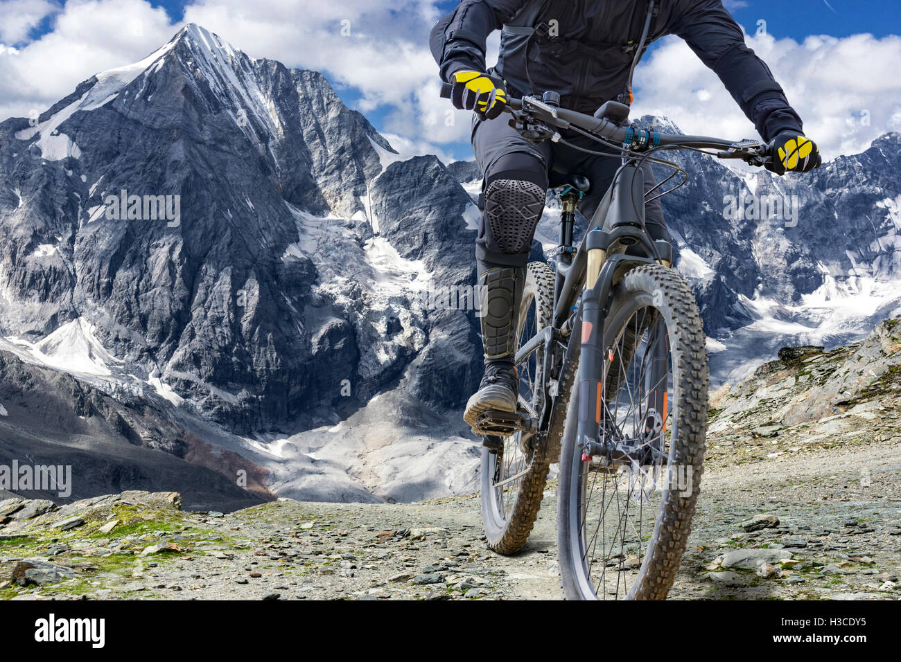 Mountain bike rider with protectors  rides up a single trail in great height. The background shows the 'Ortler' - Stock Image