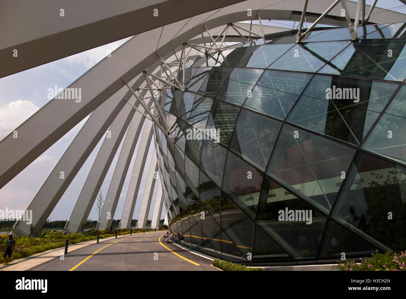 Singapore, Gardens by the Bay, road beside the Flower Dome, the world's largest columnless glasshouse - Stock Image