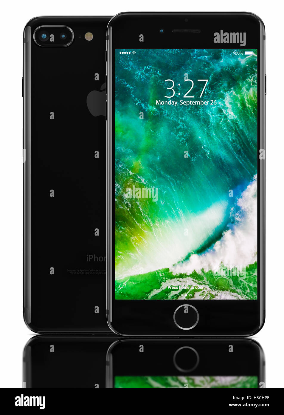 3d Rendering Of Jet Black Iphone 7 Plus On Black Background Devices Stock Photo Alamy