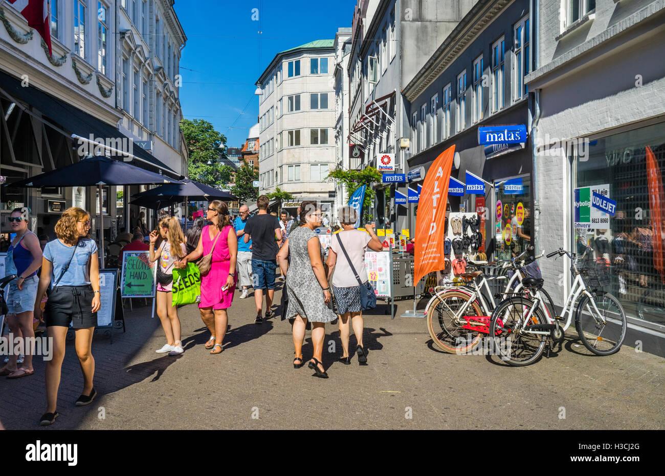 Denmark, Funen, Odense, Vestergade popular pedestrian shopping mall - Stock Image