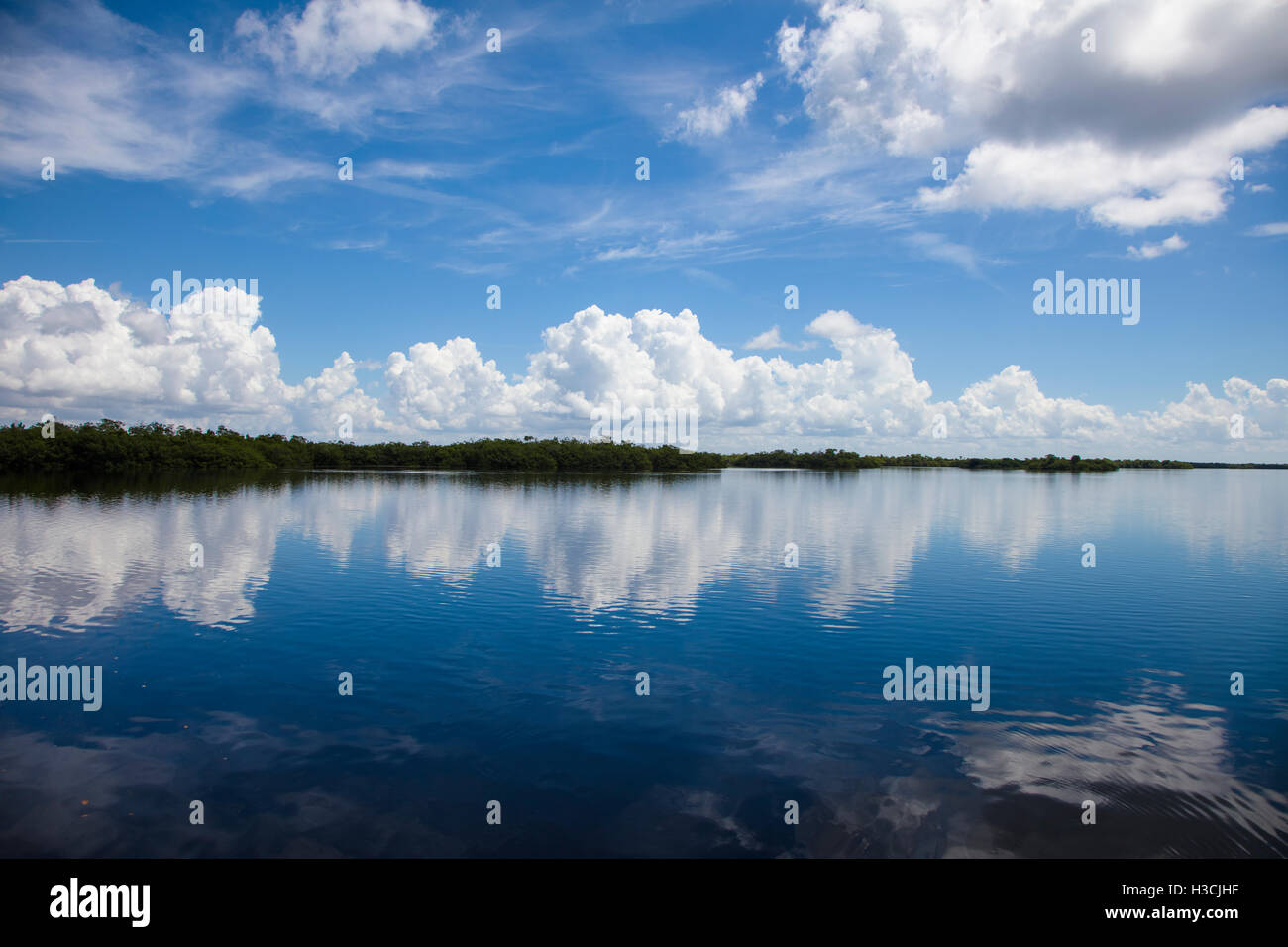 Clouds reflecting in calm water in J N Ding Darling National Wildlife Refuge on Sanibel Island Florida Stock Photo