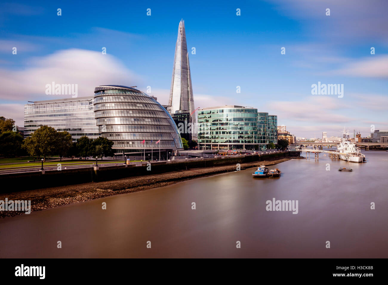 London Skyline and The River Thames, London, UK - Stock Image