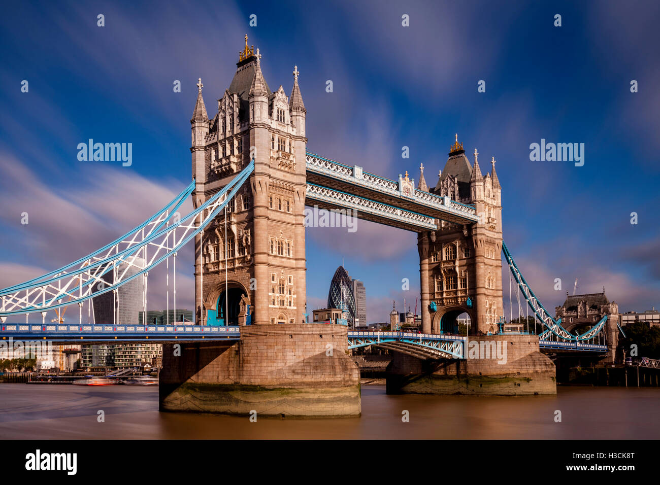 Tower Bridge and River Thames, London, England - Stock Image