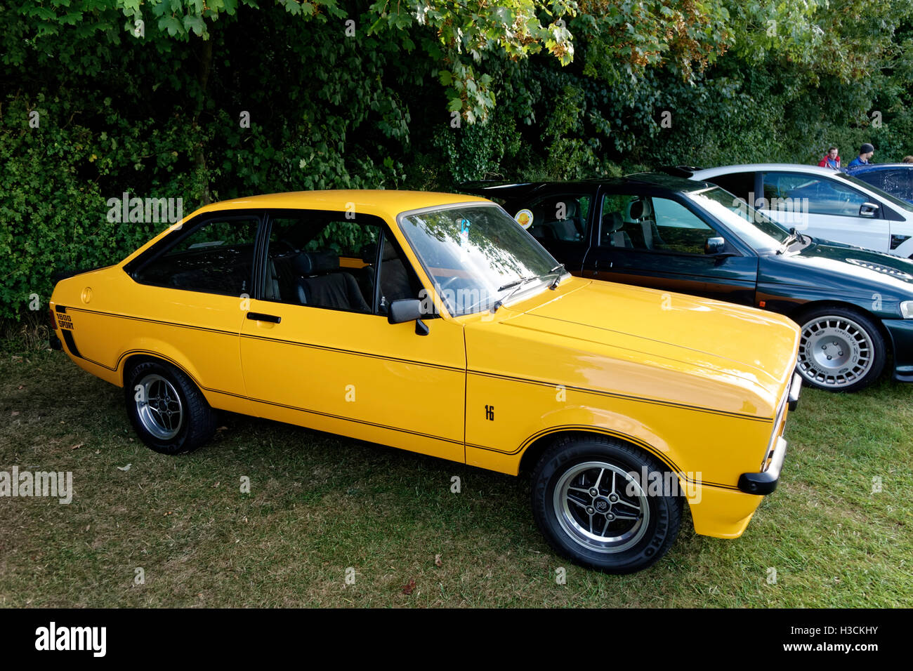 A Ford Escort 1600 Sport motor car, MDD 436P, at the Castle Combe Rallyday 2016, Wiltshire, United Kingdom. - Stock Image