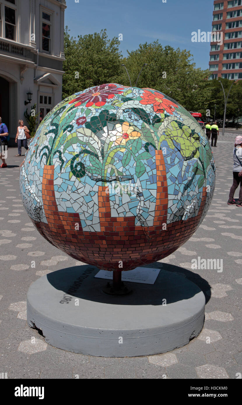 """'Responsible Manufacturing', one of the """"Cool Globes"""" exhibit in Battery Park, Manhattan, New York, United - Stock Image"""