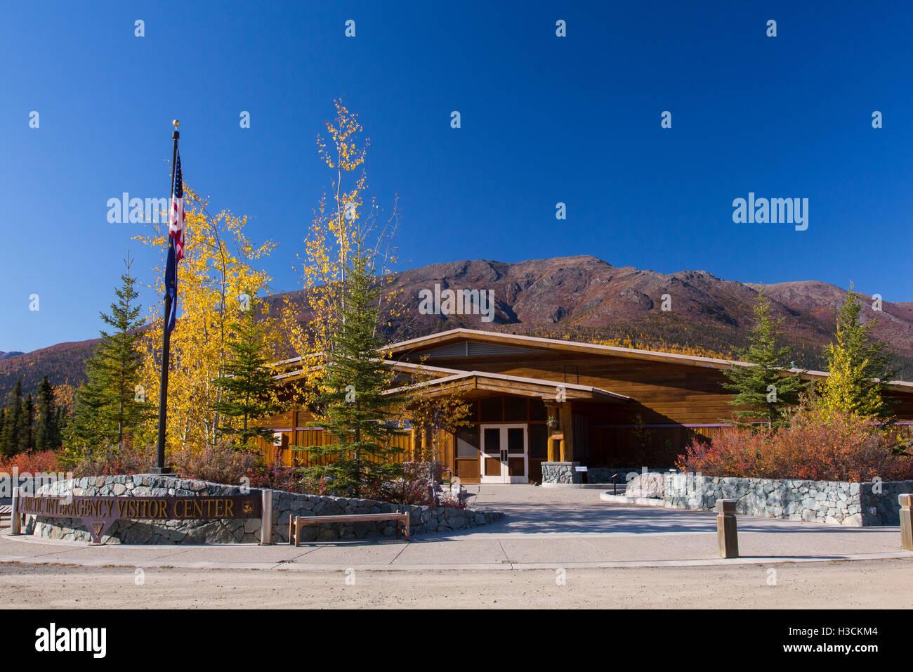 Arctic Interagency Visitor Center, Dalton Highway, Alaska. Stock Photo