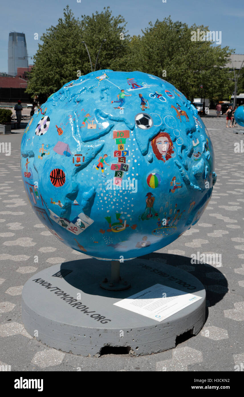 "'Unplugged Fun', one of the ""Cool Globes"" exhibit in Battery Park, Manhattan, New York, United States. - Stock Image"