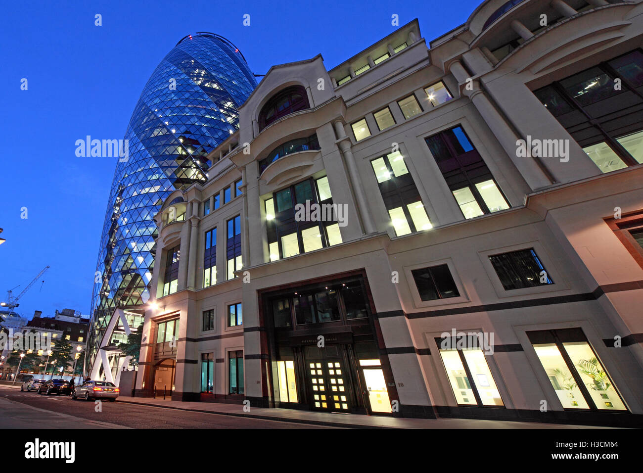Financial heart of London, City of London, South East England, Uk at dusk - Stock Image