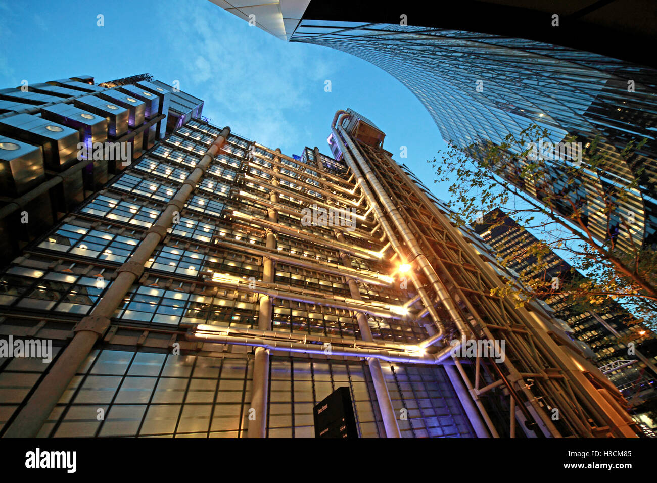 Lloyd's building London at dusk, Lime St, England - Stock Image