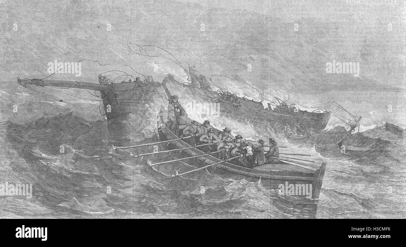 WALES The Tenby Life-boat saving the crew of the Smack Bruce, of Milford 1859. The Illustrated London News - Stock Image