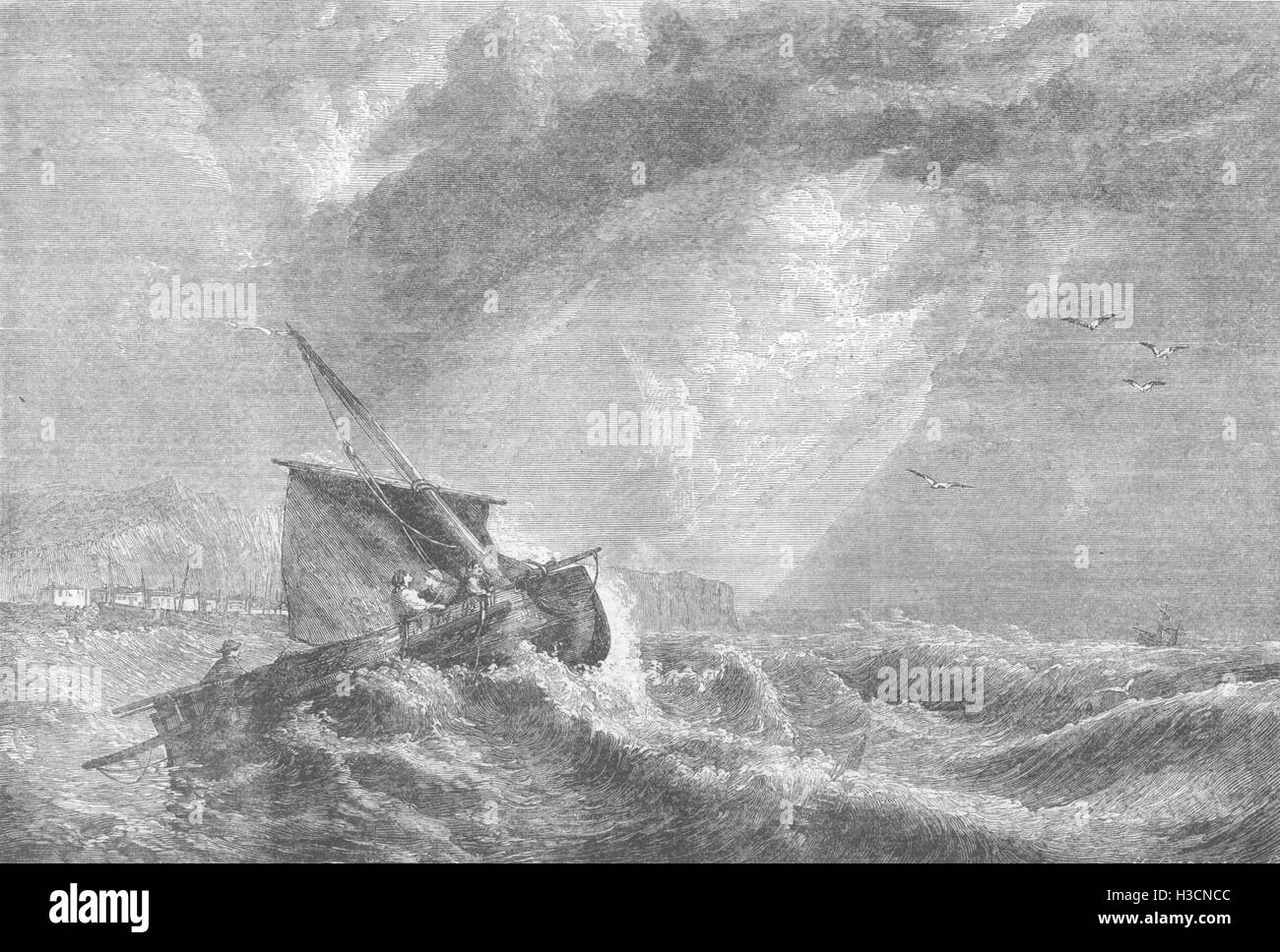 BOATS A Signal of Distress in the Offing. Boat in difficulty 1858. The Illustrated London News - Stock Image