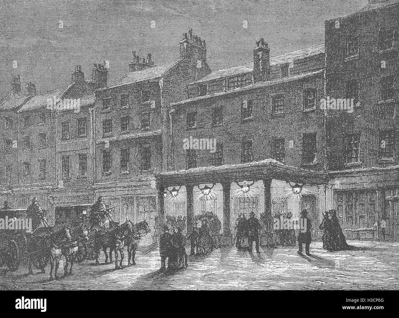 LONDON The Old Haymarket Theatre c1880. 'Old & New London', Cassell & Co - Stock Image