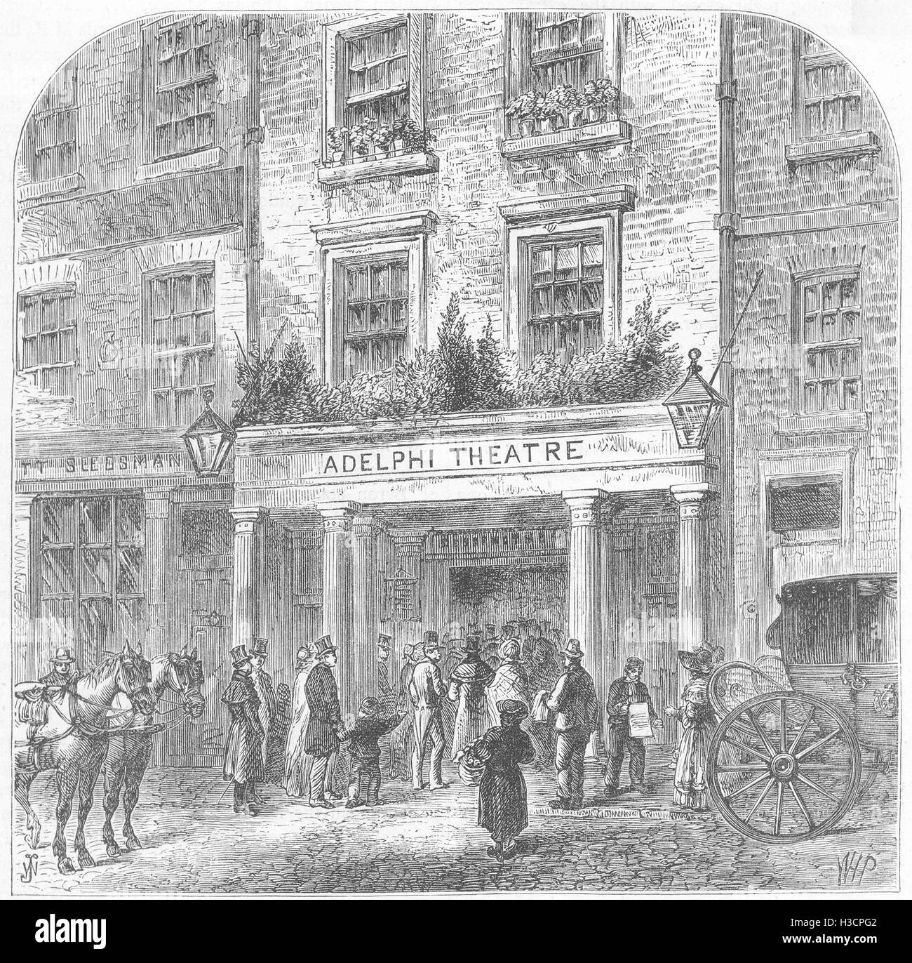 THEATRE The Old Adelphi theatre c1880. 'Old & New London', Cassell & Co - Stock Image