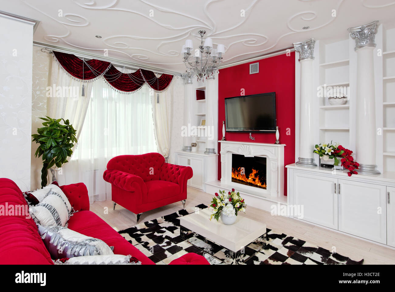 Classical Living Room Interior In White Silver And Red Colors Stock Photo Alamy