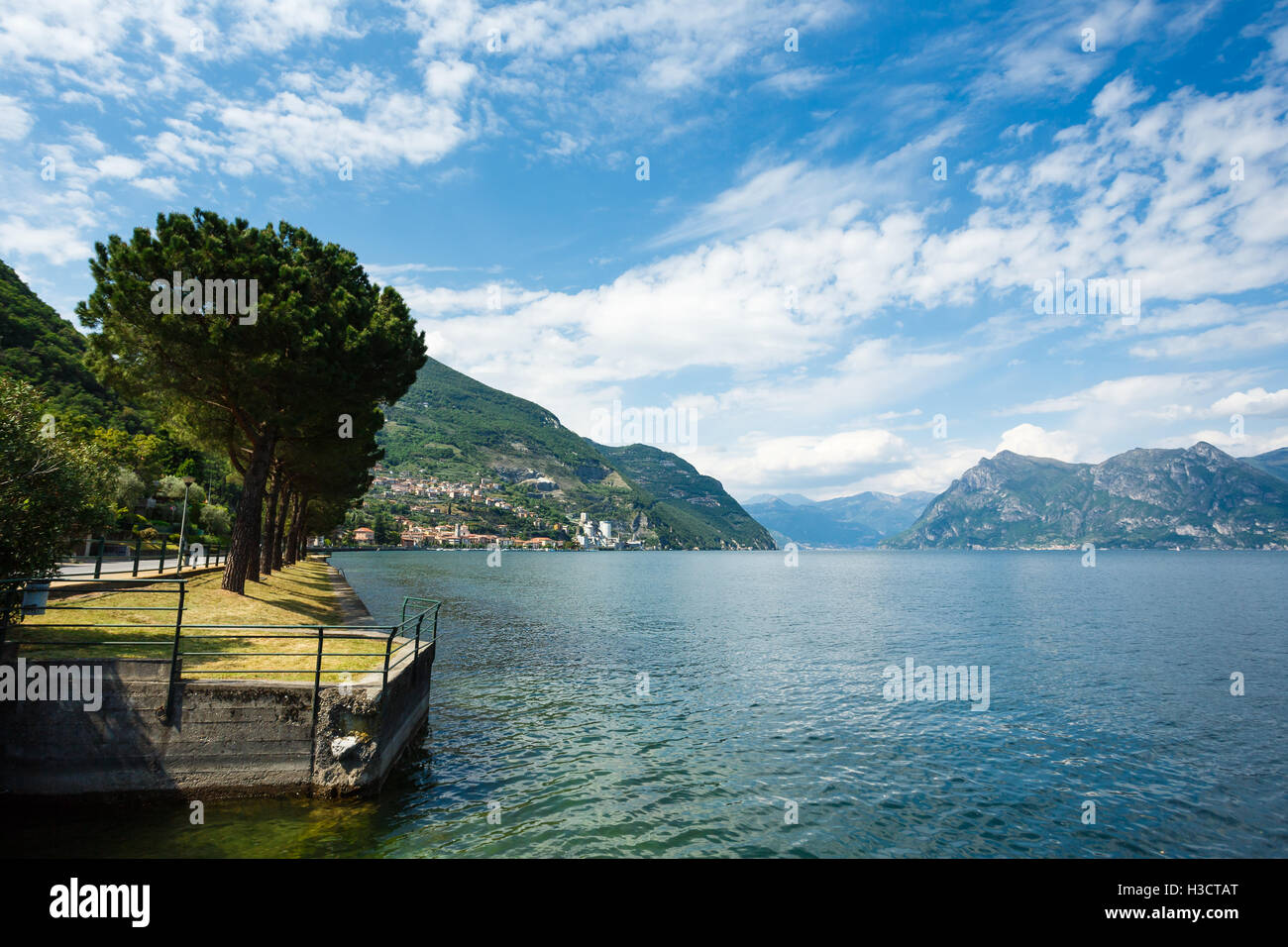 Landscape of Lake Iseo in North Italy - Stock Image
