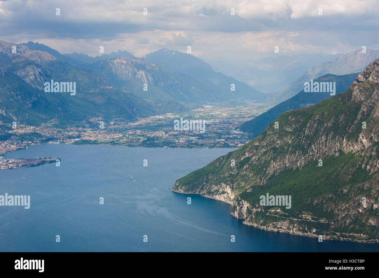 Landscape of Lake Iseo from aerial view, North Italy - Stock Image